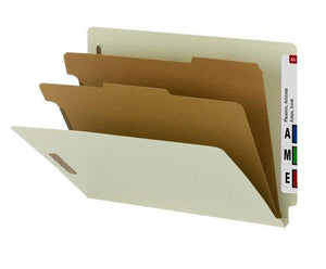"Smead 100% Recycled End Tab Classification Folder, 2 Dividers, 2"" Expansion, Letter Size, Gray/Green, 10 Per Box (26802)"