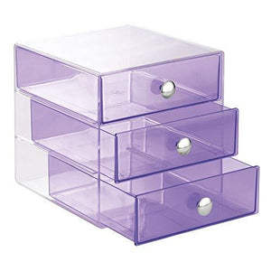 Interdesign 3-Drawer Storage Organizer For Cosmetics, Makeup, Beauty Products Or Kitchen/ Office Supplies, Violet