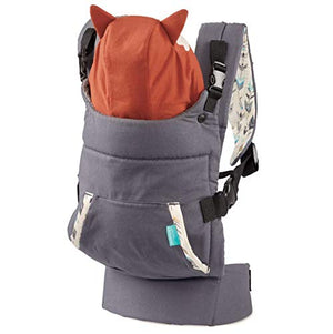 Infantino Cuddle Up Ergonomic Carrier, Face-in Front Carry & Back Carry with Removable Character Canopy Hood - Fox