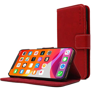 Snugg iPhone 11 Wallet Case – Leather Card Case Wallet with Handy Stand Feature – Legacy Series Flip Phone Case Cover in Dusty Cedar Red