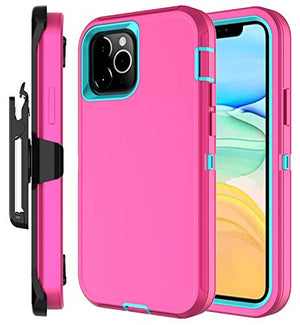 Stroson Case For Iphone 12 Pro/Iphone 12 Max (6.1Inch), Full Body 4 In 1 (Pink+Sky Blue)