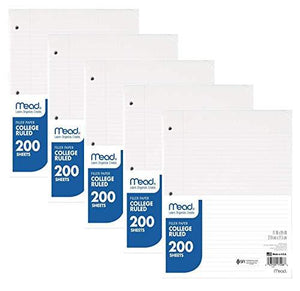Mead Economical Filler Paper 17208, College Ruled, 5 Packs Of 200 Sheets (Total 1000)
