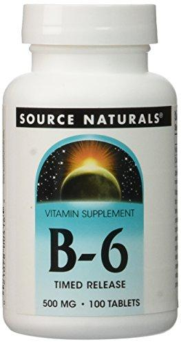 Source Naturals Vitamin B-6 500Mg Timed Released Pyridoxine, With Added Calcium Supplement - Supports Immune System & Metabolism Of Carbohydrates, Fats & Proteins - 100 Tablets