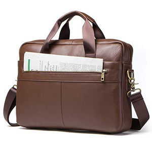 "Contacts Genuine Leather 14"" Mens Messenger Shoulder Bag Laptop Briefcase Brown"