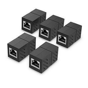 Ugreen Rj45 Coupler 5 Pack In Line Coupler Cat7 Cat6 Cat5E Adapter Female To Female (Black)
