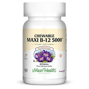 Maxi Health Chewable Vitamin B-12 - 5000 mcg - Energy Booster - Berry Flavor - 60 Chewies - Kosher