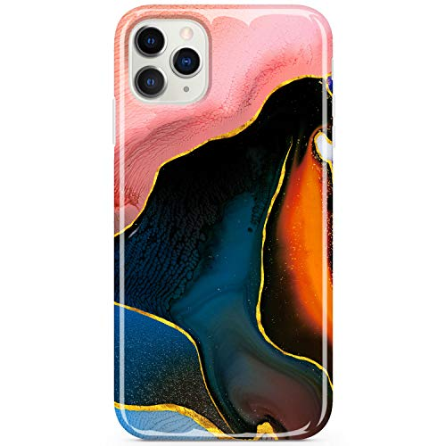 JIAXIUFEN iPhone 11 Pro Case Shiny Rose Gold Marble Slim Shockproof Flexible Bumper TPU Soft Case Rubber Silicone Cover Phone Case for iPhone 11 Pro 2019 5.8 inch - Pink Black