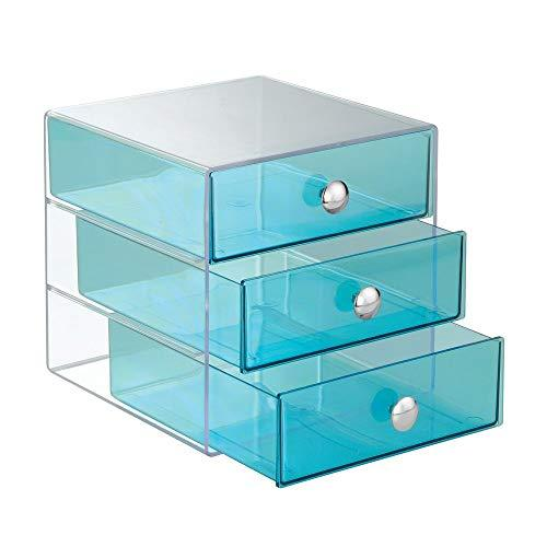 Interdesign 3 Drawer Storage Organizer For Cosmetics, Makeup, Beauty Products And Office Supplies, Aqua