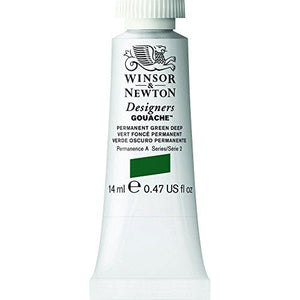 Winsor & Newton Designers Gouache Tube, 14Ml, Permanent Green Deep