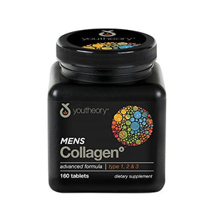 Youtheory Men's Collagen Advanced with Biotin, 160Count (1 Bottle)
