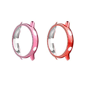 MoKo 2-Pack Protector Case Compatible with Samsung Galaxy Watch Active 2 40mm, Crystal Diamonds Plate Hard Bumper Bling Case Protective Frame Cover Decoration Accessory - Pink & Red