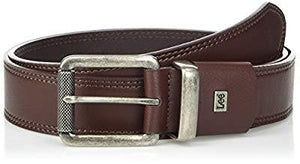Lee Men's Relaxed Flat Edge Leather Belt, Cognac, Small