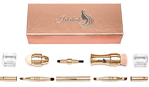 Makeup Brush Set, Kit,Set De Regalo De Pincel De Maquillaje, In A Beautiful Rose Gold Gift Box, Are 2 Easy To Use, 4 in 1 Compact Cosmetic Brushes.