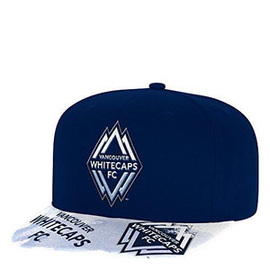 Adidas Mls Vancouver Whitecaps Adult Men Sublimated Flat Brim Snapback Hat, One Size, Blue