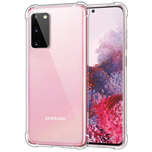MoKo Compatible with Samsung Galaxy S20 Case, Clear Reinforced Corners TPU Bumper + Anti-Yellow Transparent Hard Panel Cover Fit Galaxy S20 5G 6.2 inch 2020 - Crystal Clear
