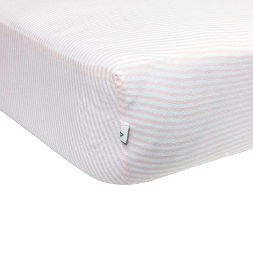 Burt's Bees Baby Fitted Crib Sheet 100% Organic Cotton Crib Sheet (Blossom Pink Thin Stripes)