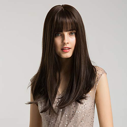 Women Brown Wig Dark Roots Synthetic Wigs with Bangs Long Straight Brunette Wig Natural Look Realistic Wig 20 Inches