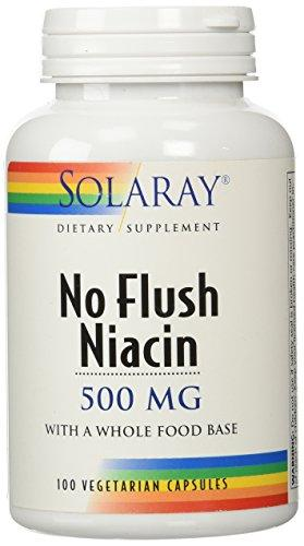 Solaray Niacin, No Flush 500Mg | Vitamin B-3 For Healthy Skin, Circulatory, Nervous System Support | Flush-Free Form | Non-Gmo & Vegan | 100 Vegcaps