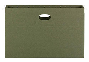 "Smead 100% Recycled Hanging File Pocket, 3-1/2"" Expansion, Legal Size, Standard Green, 10 Per Box (64326)"
