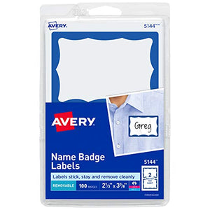 "Avery Personalized Name Tags Print or Write Blue Border, 2-1/3"" x 3-3/8"", 100 Adhesive Tags (5144)"