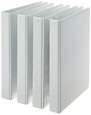 Amazonbasics 3-Ring Binder, 1 Inch - 4-Pack (White)
