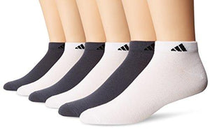 Adidas Men'S Superlite Low Cut Socks (6-Pack) White/Black/Onyx/Black Large (Size 6-12)