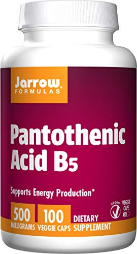 Jarrow Formulas Pantothenic Acid, B5, Supports Energy Production, 500 mg, 100 Capsules (Pack of 3)