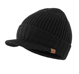 Home Prefer Men's Outdoor Newsboy Hat Winter Warm Thick Knit Beanie Cap with Visor Black