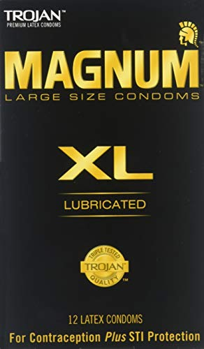 Trojan Magnum XL Size Lubricated Latex Condoms - 12 ct, Pack of 2