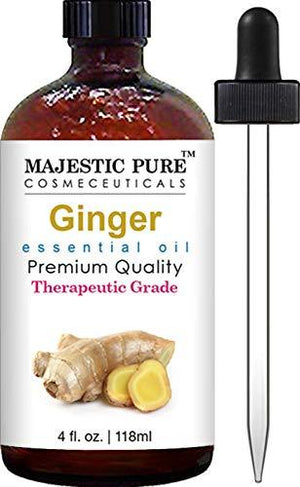 Majestic Pure Ginger Root Essential Oil, Pure And Natural With Therapeutic Grade, Premium Quality Ginger Root Oil, 4 Fl. Oz.