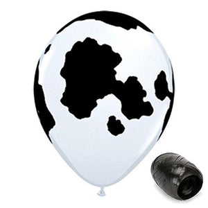 Generic 20 Pack 11 Cow Print Latex Balloons With Matching Ribbons