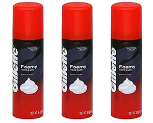 Gillette 3 Foamy Regular Shave Foam Men 2Oz Travel Size (3 Pack)