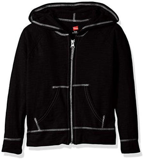 Hanes Girls' Big Slub Jersey Full Zip Jacket, Black Large