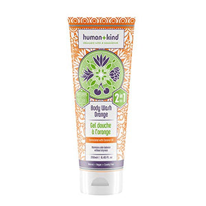Human+Kind Body Wash - Nourishes Dry Skin with Coconut Oil - SLS-Free, Gentle Enough for Hair and Scalp - Natural, Vegan Skin Care - Orange Scent - 8.45 fl oz