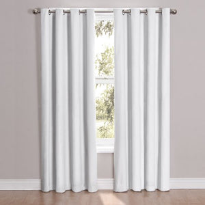"Eclipse 52"" x 108"" Insulated Darkening Single Panel Grommet Top Window Treatment Living Room, White"