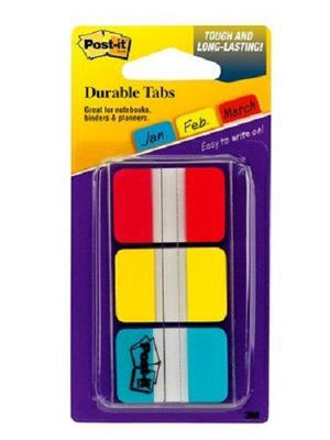 Post-It Durable Indextabs, 1 Inch, Assorted Bright Colors, 36 Per Dispenser (686-Rybt)
