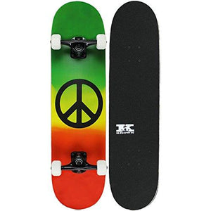 Krown Pro Skateboard Complete Pre-Built Rasta Peace Sign 7.75