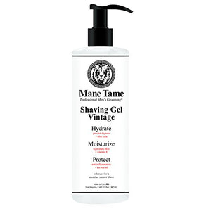 Mane Tame Professional Men's Grooming Shaving Gel, Vintage Collection, Clear Natural Formula with Tea Tree, Aloe Vera, Vitamin E, Professional Barber Quality, Made in USA, 15.8 oz.