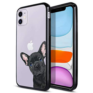 FINCIBO Case Compatible with Apple iPhone 11 6.1 inch 2019, Slim TPU Bumper + Clear Hard Protective Case Cover for iPhone 11 (NOT FIT 11 Pro) - French Bulldog Puppy Dog Black Look for You