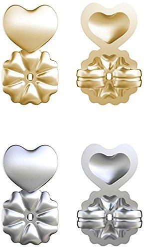 Allstar Innovations Silver/18K Gold Plated Adjustable Hypoallergenic Earring Lifters 2 Pairs