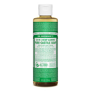 Dr. Bronner's - Pure-Castile Liquid Soap (Almond, 8 ounce) - Made with Organic Oils, 18-in-1 Uses: Face, Body, Hair, Laundry, Pets and Dishes, Concentrated, Vegan, Non-GMO
