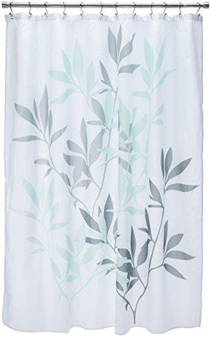 "Interdesign 35603 Leaves Fabric Shower Curtain - Standard, 72"" X 72"", Gray/Mint"