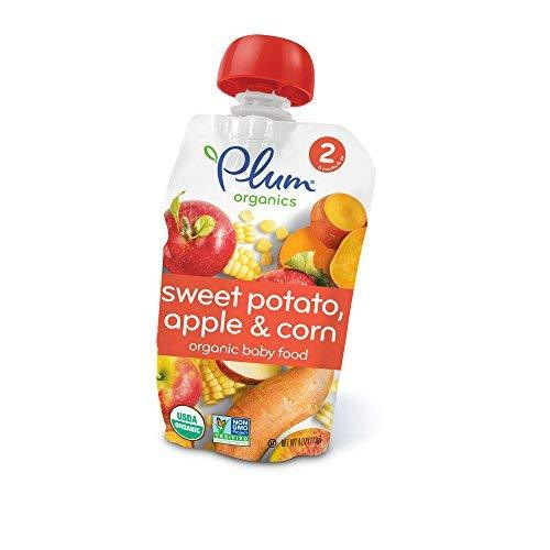 Plum Organics Baby Second Blends, Sweet Potato, Corn And Apple, 4 Ounce Pouches (Pack Of 12)