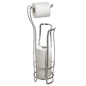 Interdesign Axis Free Standing Toilet Paper Holder Extra Toilet Roll Storage For Bathroom, Chrome