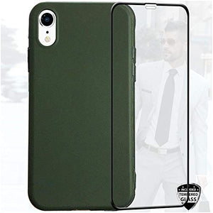 Reejax iPhone XR Case with Glass Screen Protector, Matte Hunter Green Case for Men Women,Matte Slim Fit TPU Cover Case for Men Women Protective Cover Phone Case for iPhone XR 6.1 inch