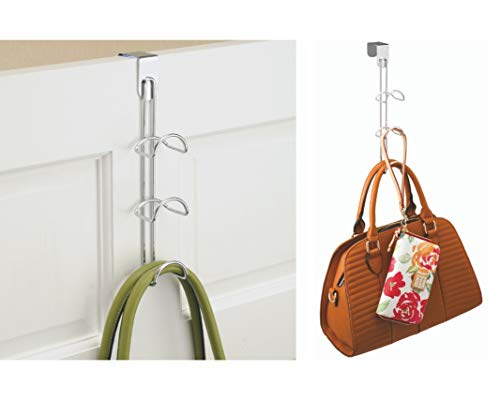 "iDesign Classico Over-the-Door Closet Organizer, 3-Hooks for Hanging Handbags, Backpacks, Totes, Towels in Bedroom, Bathroom, Mudroom, Office, 3.25"" x 4.5"" x 12.88"" - Chrome"