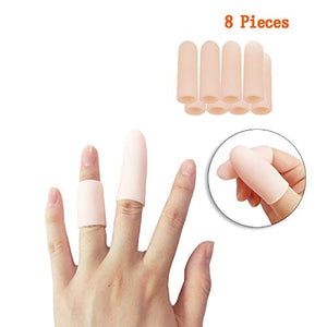 Jrery-KEY Finger Protection Finger Covers for Cracked Fingers - 8 Pcs Finger Sleeves Silicone Gel Finger Tips Protector, Also Use for Toe Corn Callus Protect (4 Pairs Small - Pink)