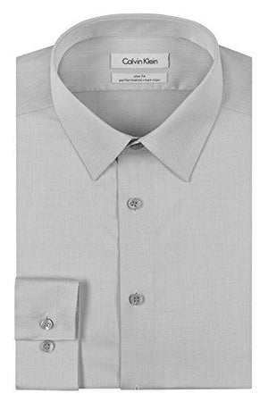 "Calvin Klein Men's Dress Shirt Slim Fit Non Iron Herringbone, Smoke 16"" Neck 34""-35"" Sleeve"