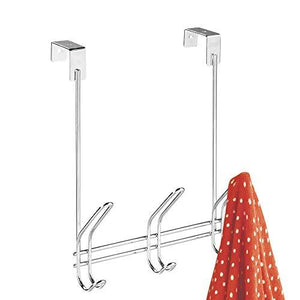 Interdesign 43912 Classico Over Door Storage Rack - Organizer Hooks For Coats, Hats, Robes, Clothes Or Towels - 3 Dual Hoo