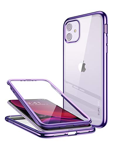 SUPCASE [Unicorn Beetle Electro Series Phone Case for Apple iPhone 11 2019 6.1 inch Case, Metallic Electroplated Edges, Slim Full-Body Protective Case with Built-in Screen Protector (Purple)